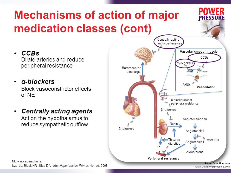 Mechanisms of action of major medication classes (cont) CCBs Dilate arteries and reduce peripheral resistance α-blockers Block vasoconstrictor effects of NE Centrally acting agents Act on the hypothalamus to reduce sympathetic outflow Izzo JL, Black HR, Sica DA, eds.
