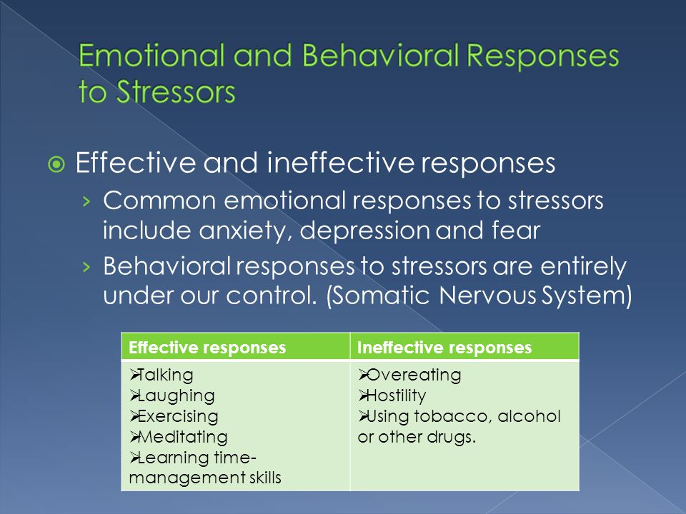  Effective and ineffective responses › Common emotional responses to stressors include anxiety, depression and fear › Behavioral responses to stresso