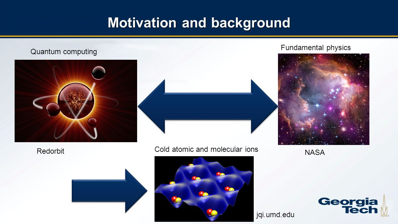 2 Motivation and background Quantum computing Fundamental physics Cold atomic and molecular ions NASA jqi.umd.edu Redorbit