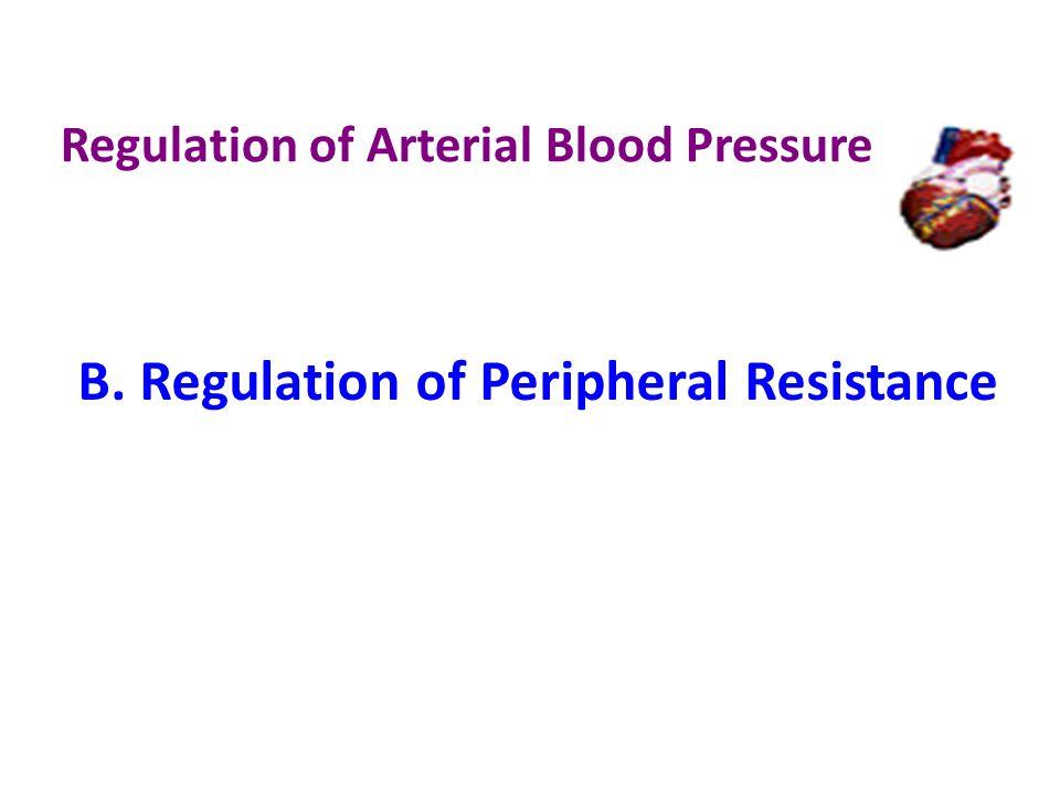 Regulation of Arterial Blood Pressure B. Regulation of Peripheral Resistance