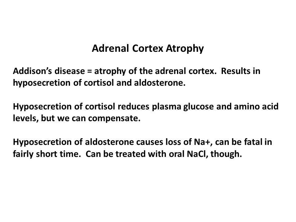 Adrenal Cortex Atrophy Addison's disease = atrophy of the adrenal cortex.