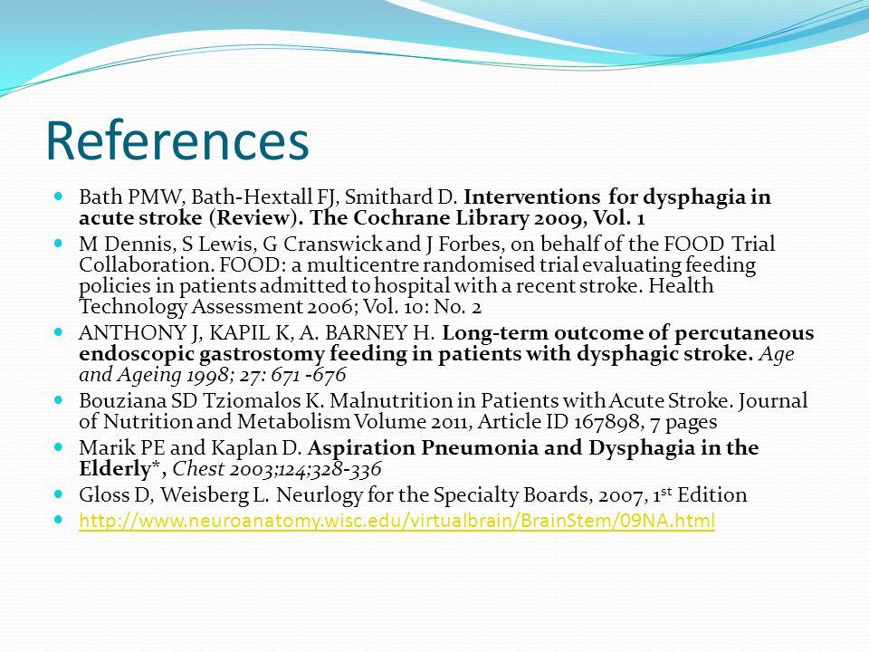 References Bath PMW, Bath-Hextall FJ, Smithard D.