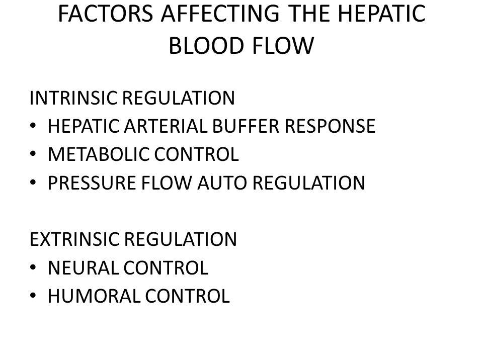 FACTORS AFFECTING THE HEPATIC BLOOD FLOW INTRINSIC REGULATION HEPATIC ARTERIAL BUFFER RESPONSE METABOLIC CONTROL PRESSURE FLOW AUTO REGULATION EXTRINSIC REGULATION NEURAL CONTROL HUMORAL CONTROL