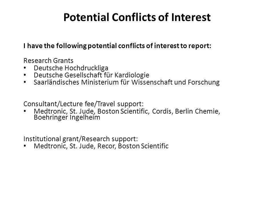 I have the following potential conflicts of interest to report: Research Grants Deutsche Hochdruckliga Deutsche Gesellschaft für Kardiologie Saarländisches Ministerium für Wissenschaft und Forschung Consultant/Lecture fee/Travel support: Medtronic, St.