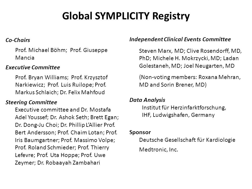 Global SYMPLICITY Registry Co-Chairs Prof. Michael Böhm; Prof.