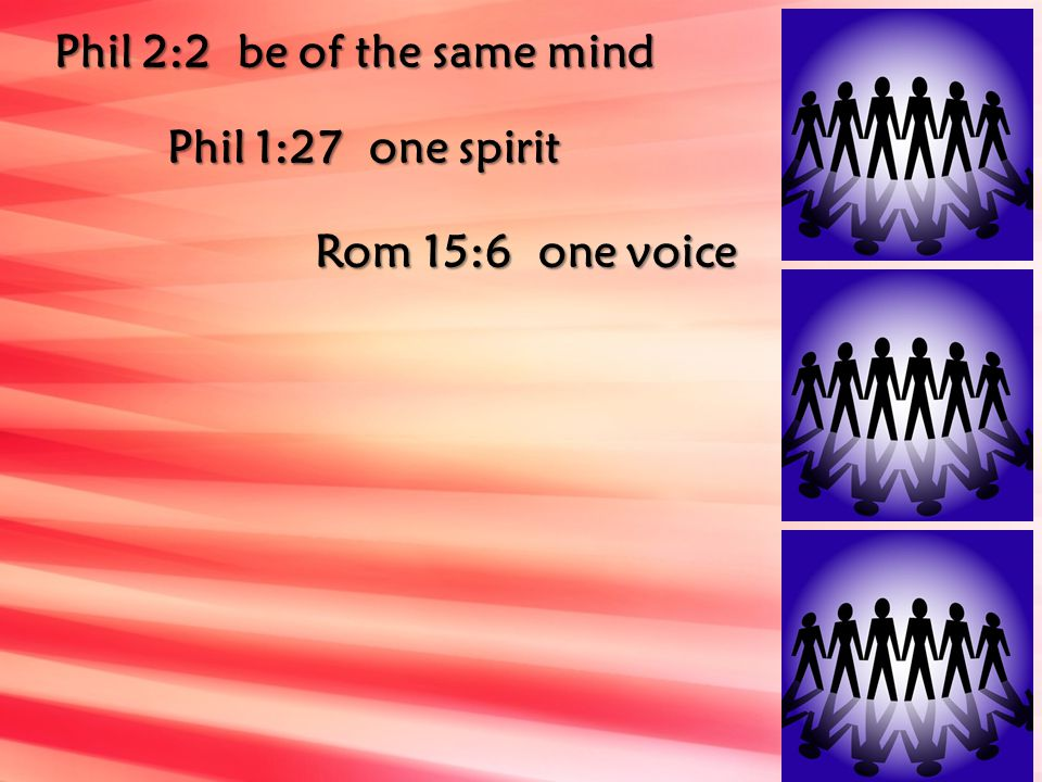 Phil 2:2 be of the same mind Phil 1:27 one spirit Rom 15:6 one voice
