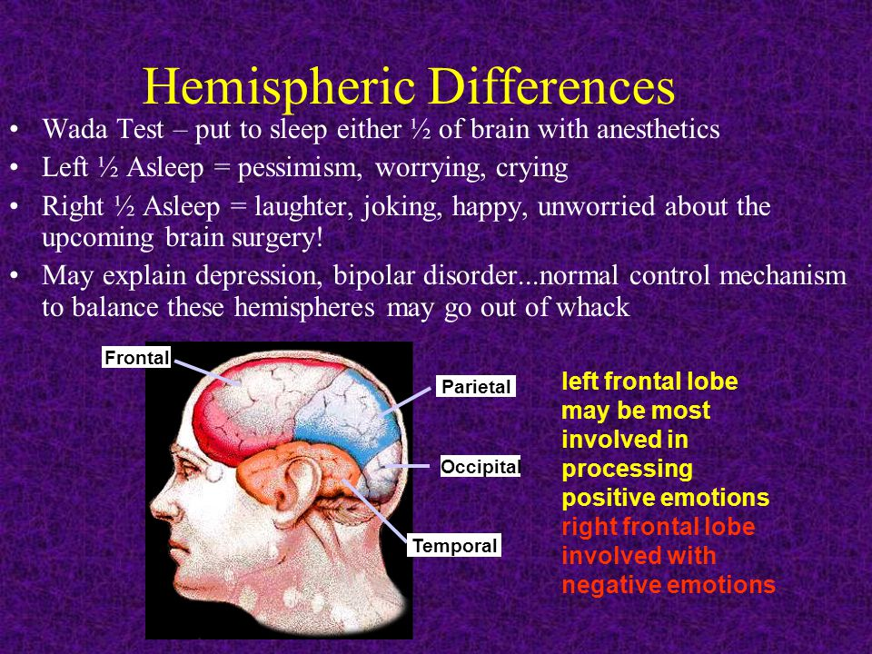 Hemispheric Differences Wada Test – put to sleep either ½ of brain with anesthetics Left ½ Asleep = pessimism, worrying, crying Right ½ Asleep = laughter, joking, happy, unworried about the upcoming brain surgery.