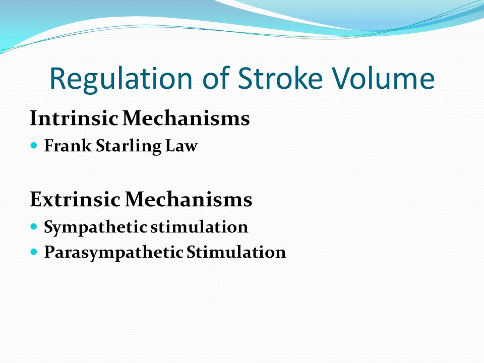 Frank–Starling law of the heart (also known as Starling s law or the Frank–Starling mechanism or Maestrini heart s law)heart States that The stroke volume of the heart increases in response to an increase in the volume of blood filling the heart (the end diastolic volume)stroke volumeend diastolic volume The increased volume of blood stretches the ventricular wall, causing cardiac muscle to contract more forcefully within physiological limits