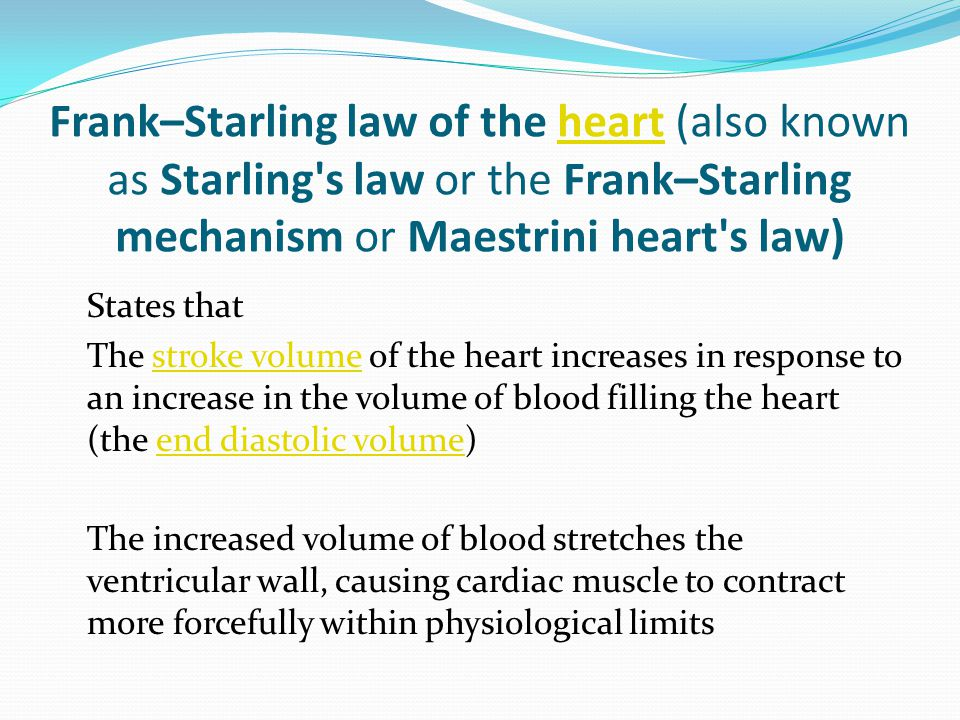 Physiological Basis of Frank-Starling Law