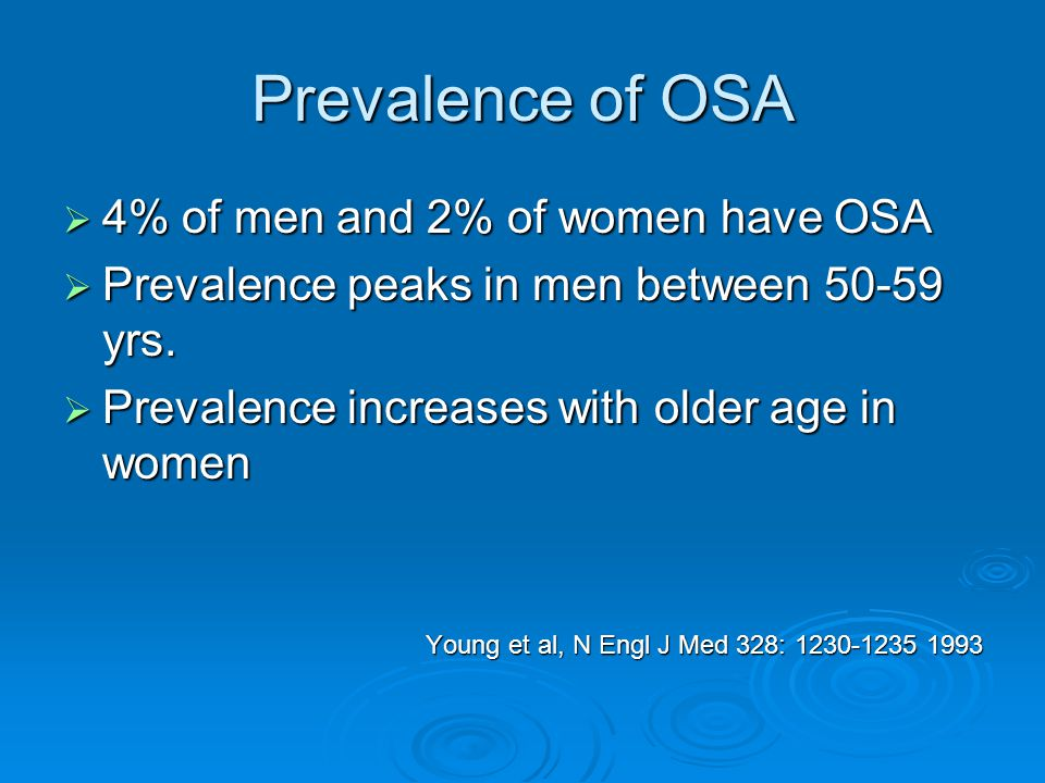 Prevalence of OSA  4% of men and 2% of women have OSA  Prevalence peaks in men between 50-59 yrs.