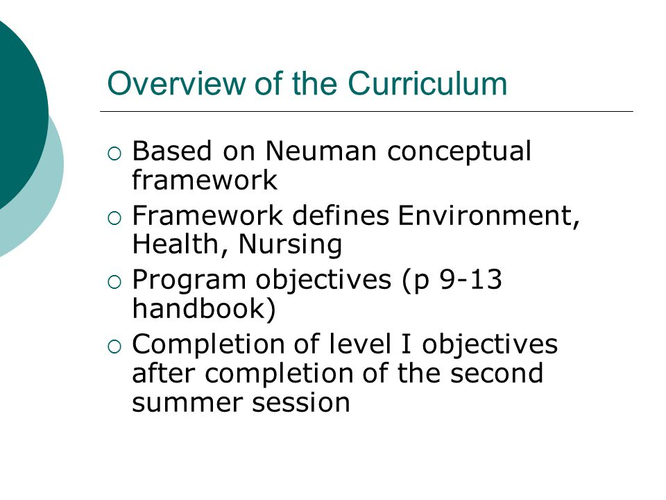 Overview of the Curriculum  Based on Neuman conceptual framework  Framework defines Environment, Health, Nursing  Program objectives (p 9-13 handbook)  Completion of level I objectives after completion of the second summer session