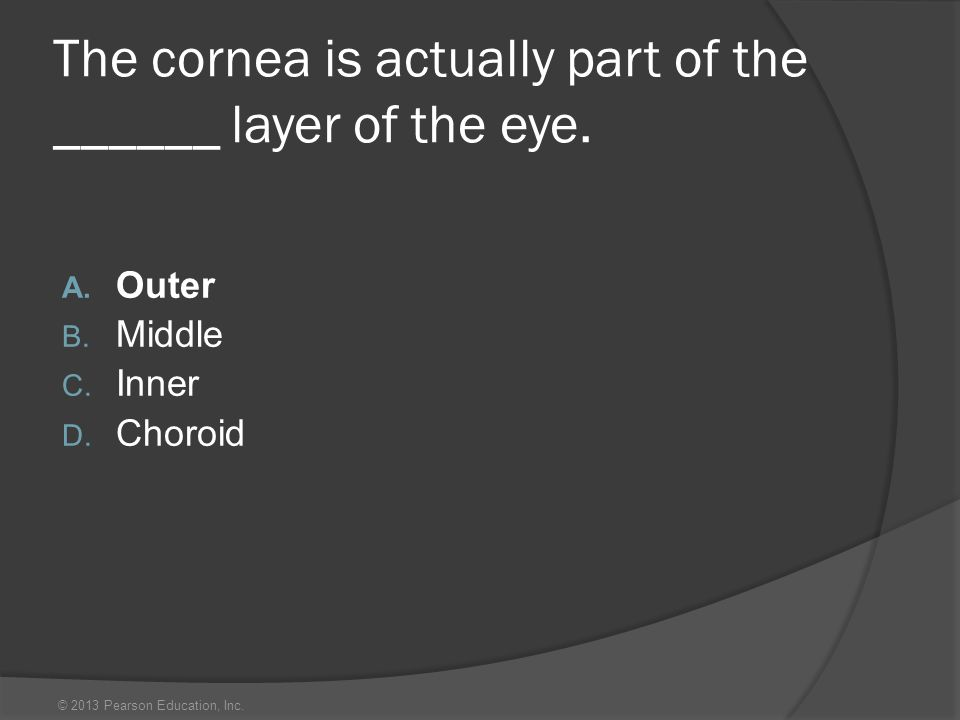 © 2013 Pearson Education, Inc. The cornea is actually part of the ______ layer of the eye. A. Outer B. Middle C. Inner D. Choroid