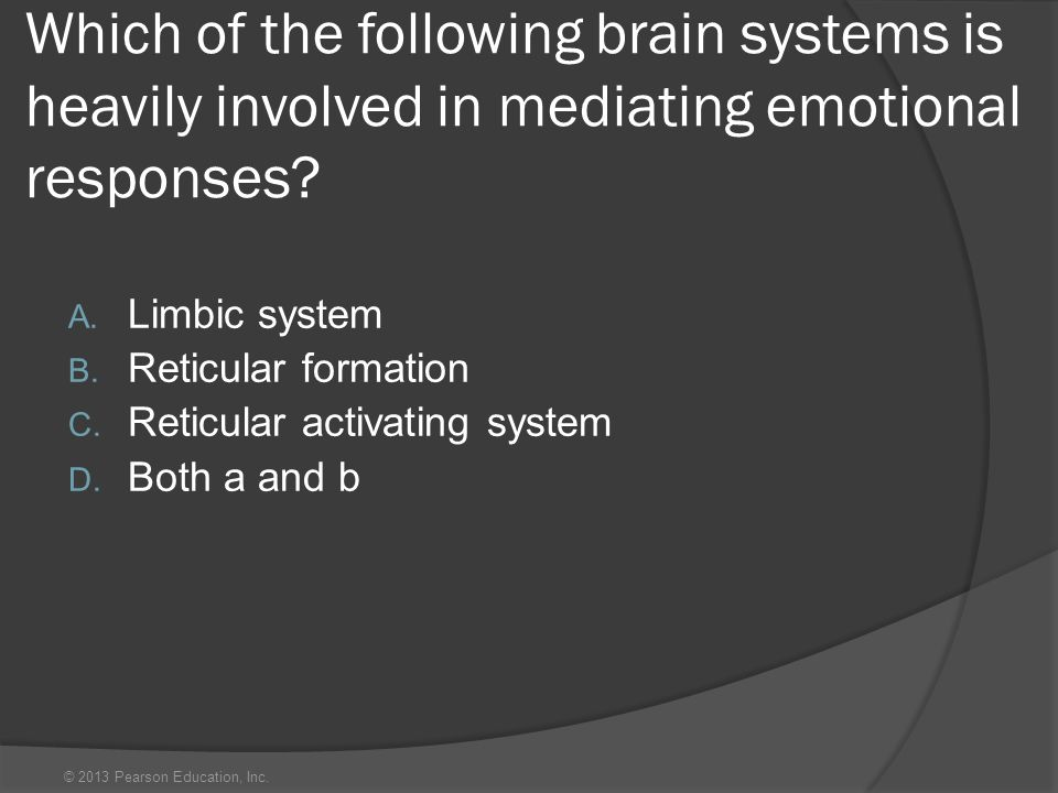 © 2013 Pearson Education, Inc. Which of the following brain systems is heavily involved in mediating emotional responses? A. Limbic system B. Reticula