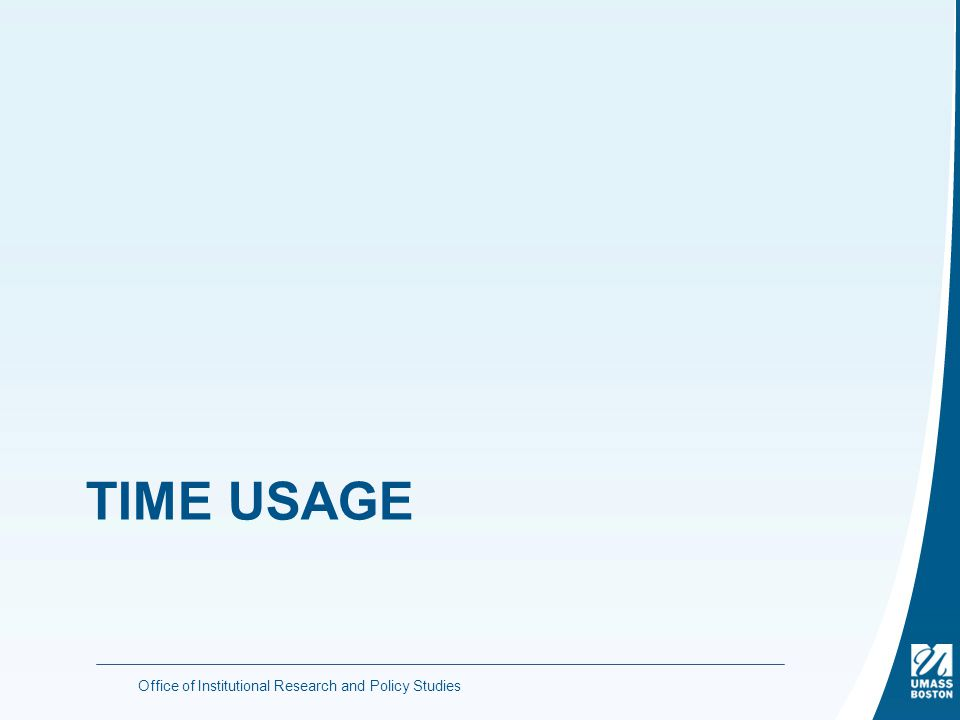 TIME USAGE Office of Institutional Research and Policy Studies