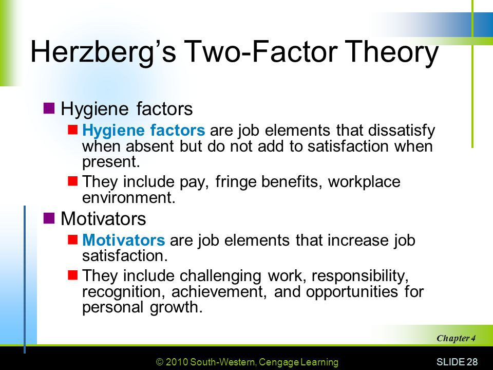 © 2010 South-Western, Cengage Learning SLIDE 28 Chapter 4 Herzberg's Two-Factor Theory Hygiene factors Hygiene factors are job elements that dissatisf