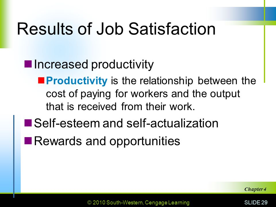 © 2010 South-Western, Cengage Learning SLIDE 29 Chapter 4 Results of Job Satisfaction Increased productivity Productivity is the relationship between