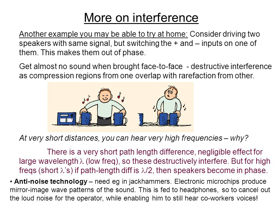 More on interference Another example you may be able to try at home: Consider driving two speakers with same signal, but switching the + and – inputs on one of them.