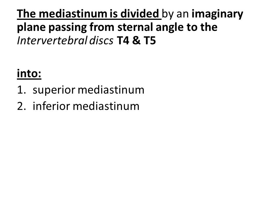 The mediastinum is divided by an imaginary plane passing from sternal angle to the Intervertebral discs T4 & T5 into: 1.superior mediastinum 2.inferio