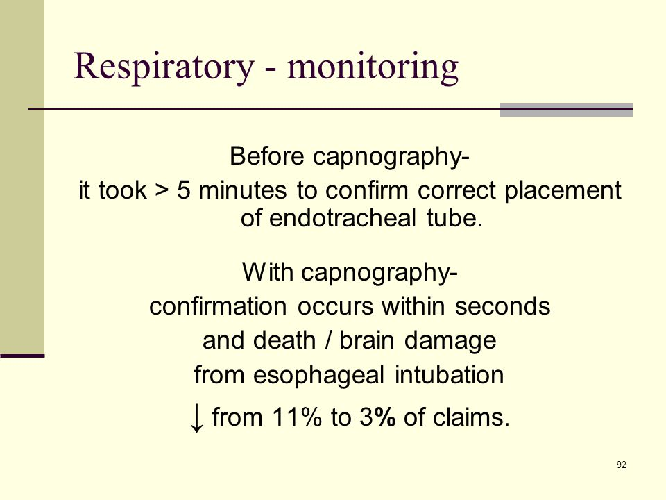 92 Respiratory - monitoring Before capnography- it took > 5 minutes to confirm correct placement of endotracheal tube. With capnography- confirmation