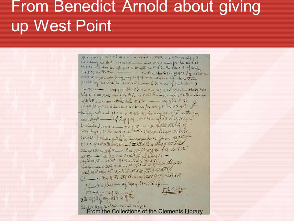 From Benedict Arnold about giving up West Point