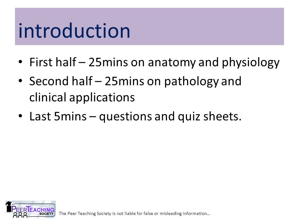 First half – 25mins on anatomy and physiology Second half – 25mins on pathology and clinical applications Last 5mins – questions and quiz sheets.