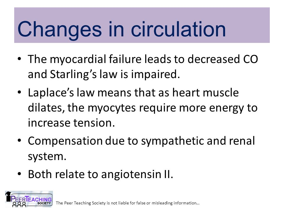 The myocardial failure leads to decreased CO and Starling's law is impaired.
