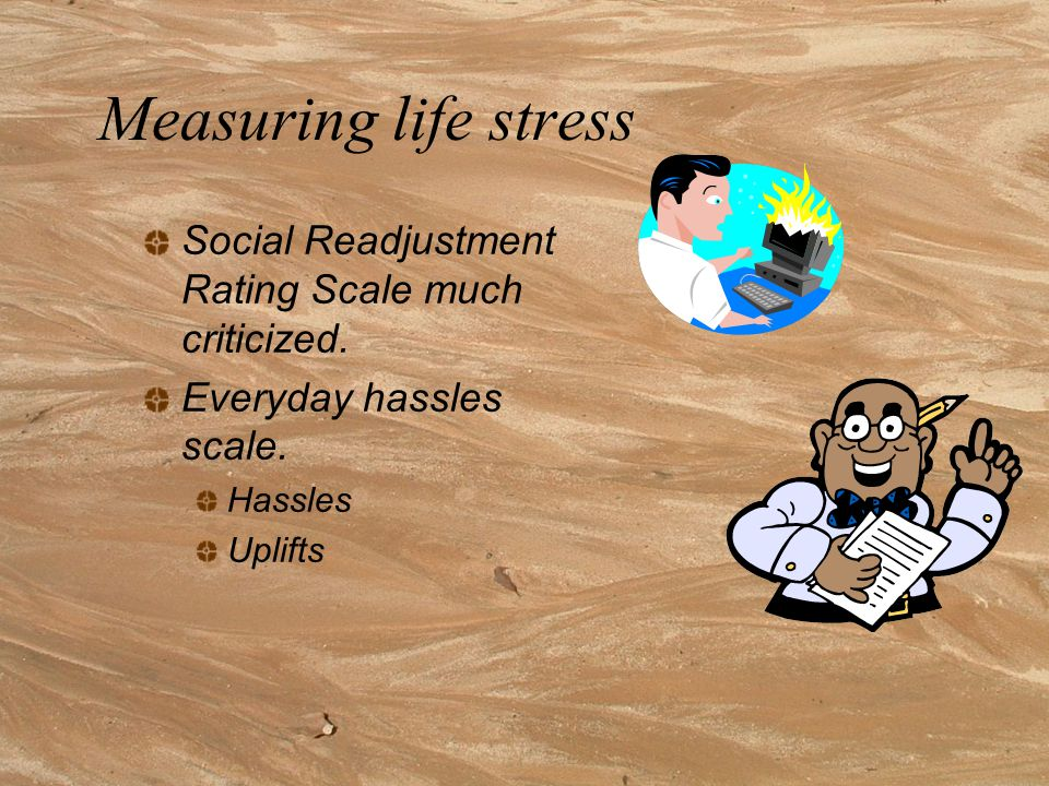 Measuring life stress Social Readjustment Rating Scale much criticized.