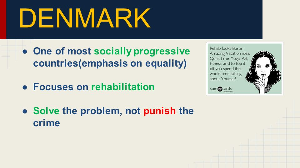DENMARK ●One of most socially progressive countries(emphasis on equality) ●Focuses on rehabilitation ●Solve the problem, not punish the crime