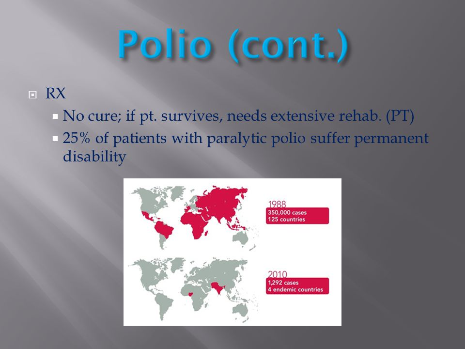  RX  No cure; if pt. survives, needs extensive rehab. (PT)  25% of patients with paralytic polio suffer permanent disability