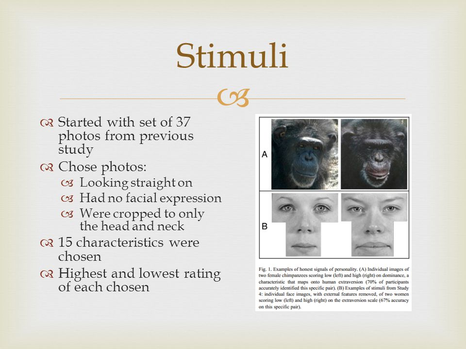  Stimuli  Started with set of 37 photos from previous study  Chose photos:  Looking straight on  Had no facial expression  Were cropped to only the head and neck  15 characteristics were chosen  Highest and lowest rating of each chosen