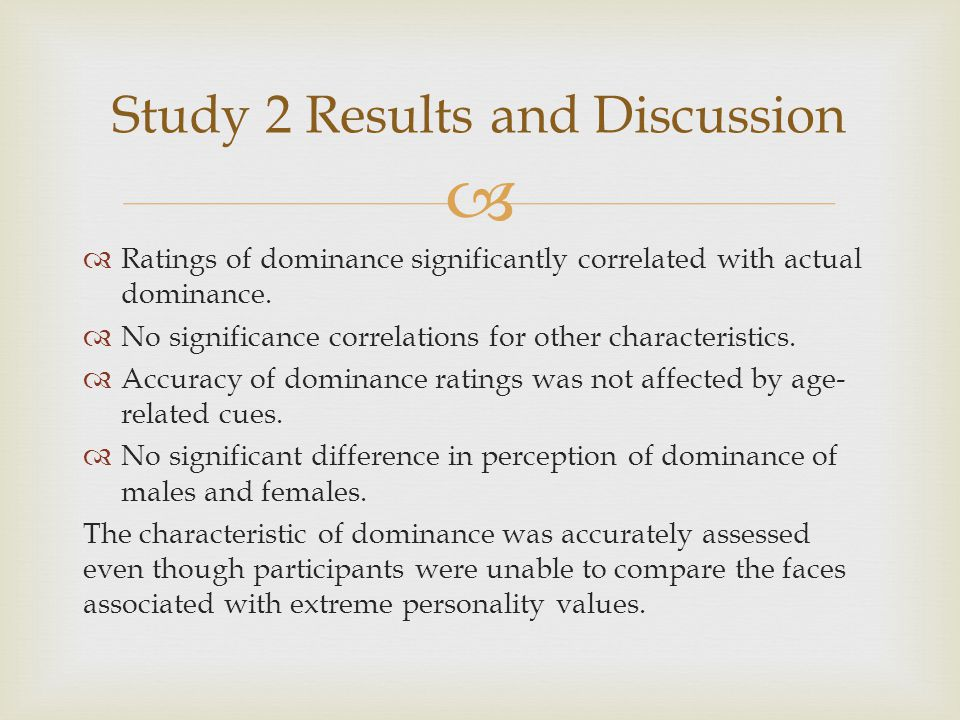   Ratings of dominance significantly correlated with actual dominance.