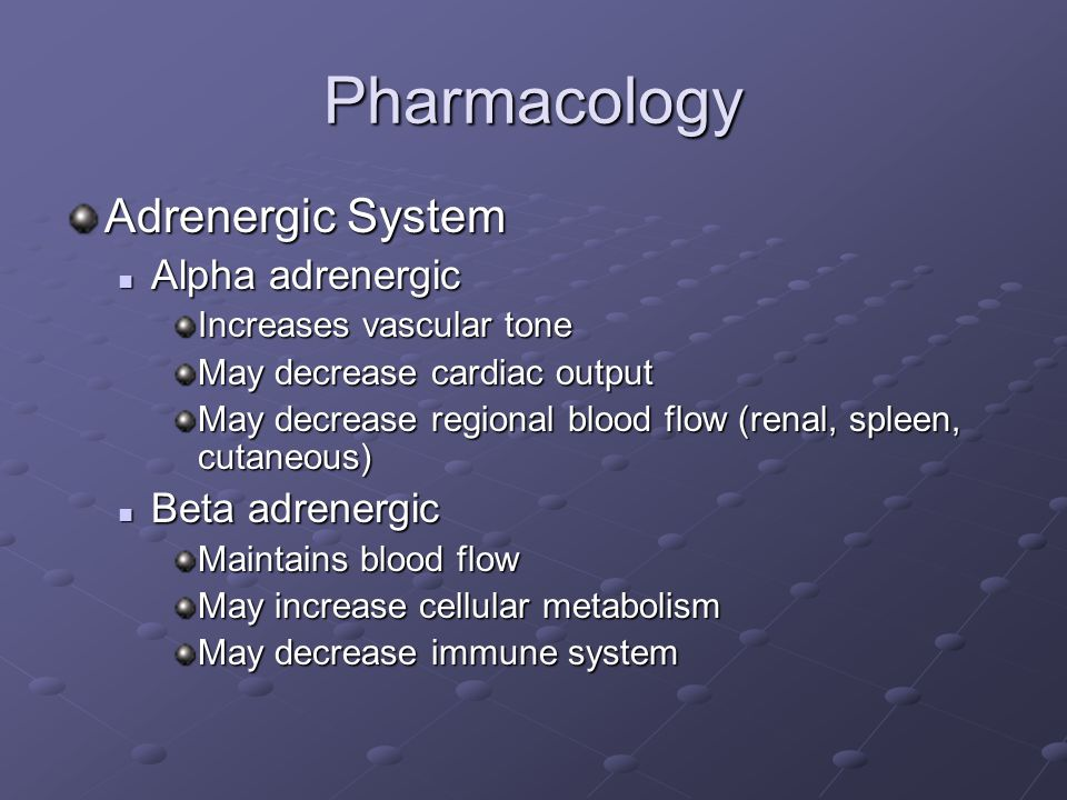 Pharmacology Adrenergic System Alpha adrenergic Alpha adrenergic Increases vascular tone May decrease cardiac output May decrease regional blood flow (renal, spleen, cutaneous) Beta adrenergic Beta adrenergic Maintains blood flow May increase cellular metabolism May decrease immune system