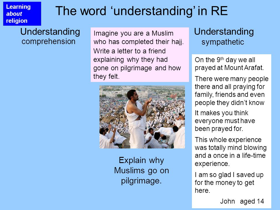 The word 'understanding' in RE Understanding sympathetic On the 9 th day we all prayed at Mount Arafat.