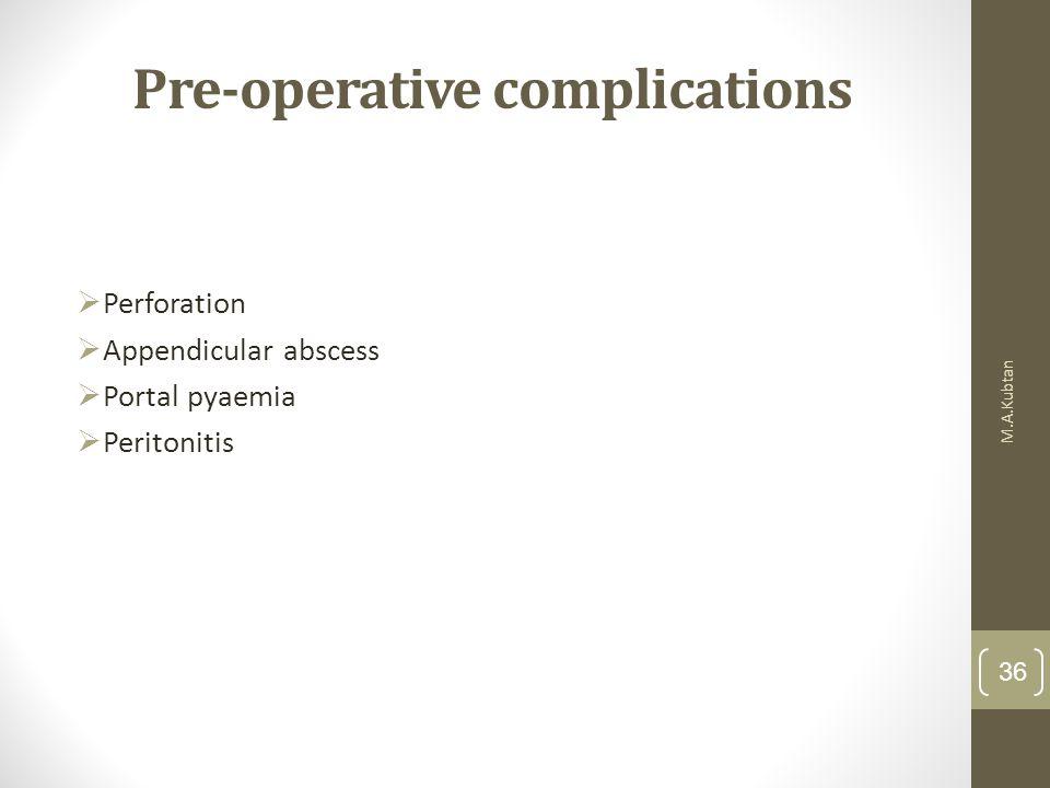 Pre-operative complications  Perforation  Appendicular abscess  Portal pyaemia  Peritonitis M.A.Kubtan 36