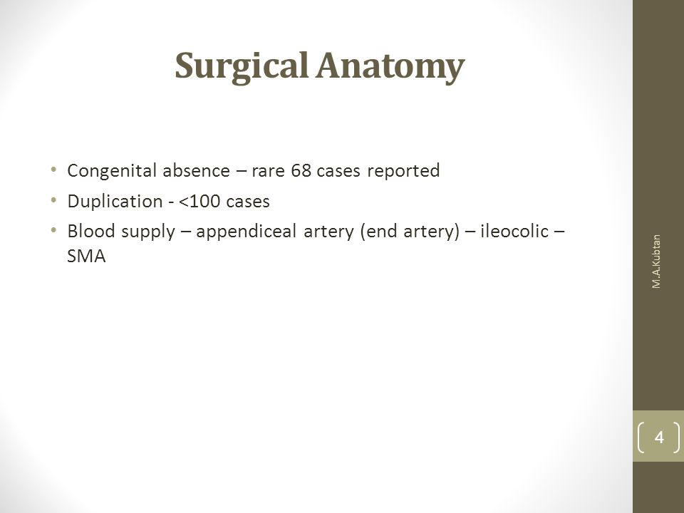 Surgical Anatomy Congenital absence – rare 68 cases reported Duplication - <100 cases Blood supply – appendiceal artery (end artery) – ileocolic – SMA