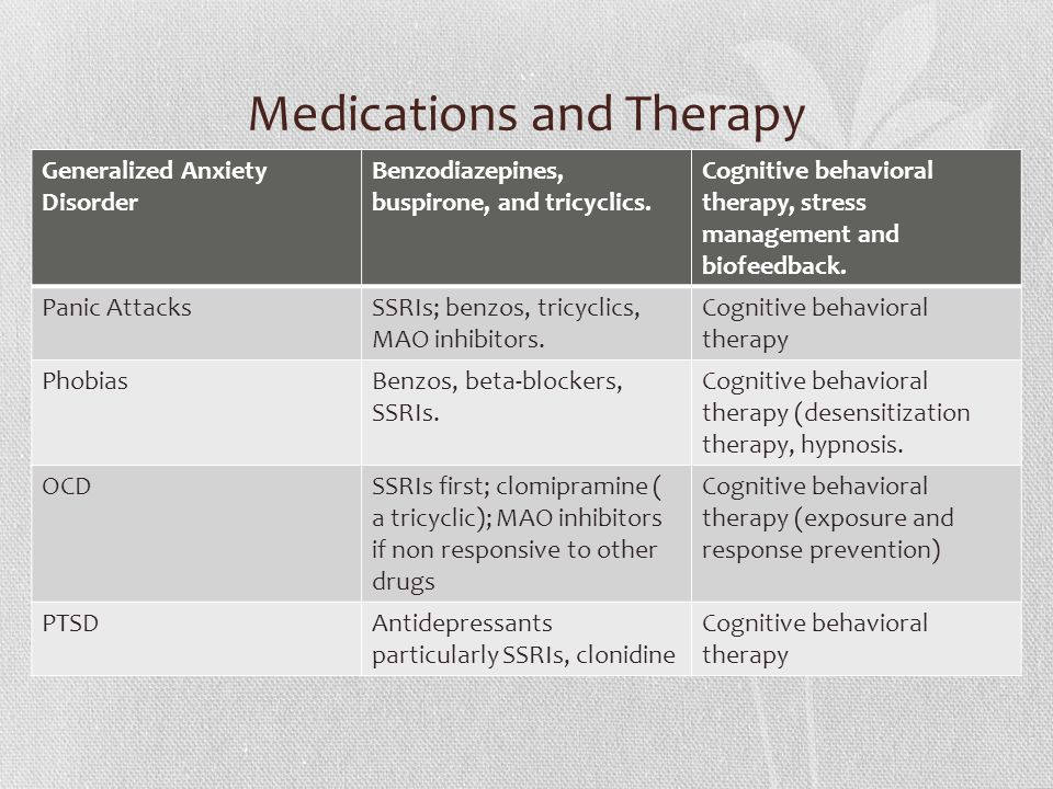 Medications and Therapy Generalized Anxiety Disorder Benzodiazepines, buspirone, and tricyclics.