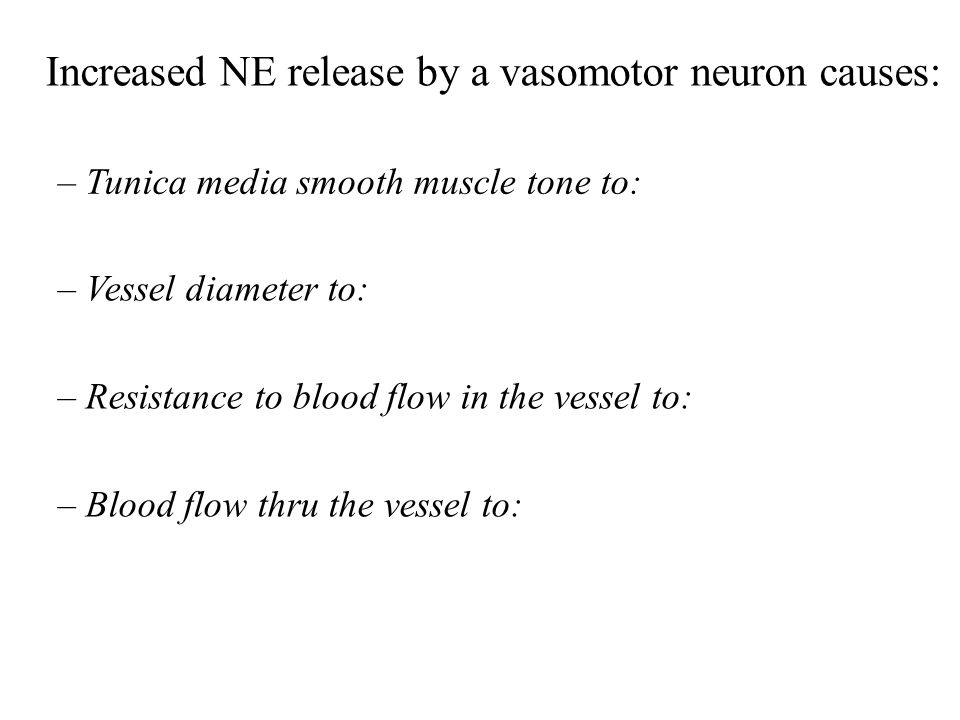 Increased NE release by a vasomotor neuron causes: – Tunica media smooth muscle tone to: – Vessel diameter to: – Resistance to blood flow in the vesse