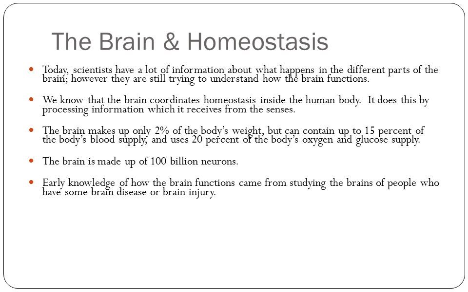 The Brain & Homeostasis Today, scientists have a lot of information about what happens in the different parts of the brain; however they are still try