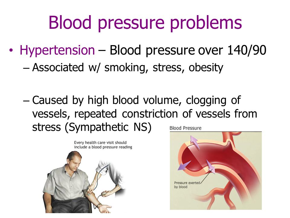Blood pressure problems Hypertension – Blood pressure over 140/90 – Associated w/ smoking, stress, obesity – Caused by high blood volume, clogging of