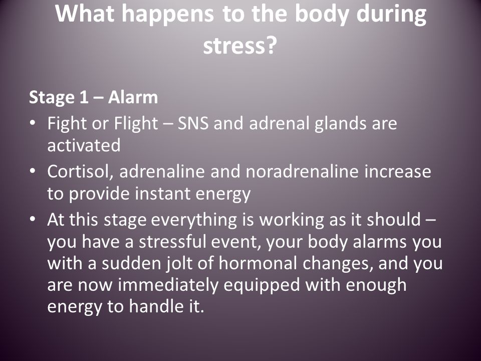 Stage 2 – Resistance The body shifts into this second phase with the source of stress being possibly resolved.