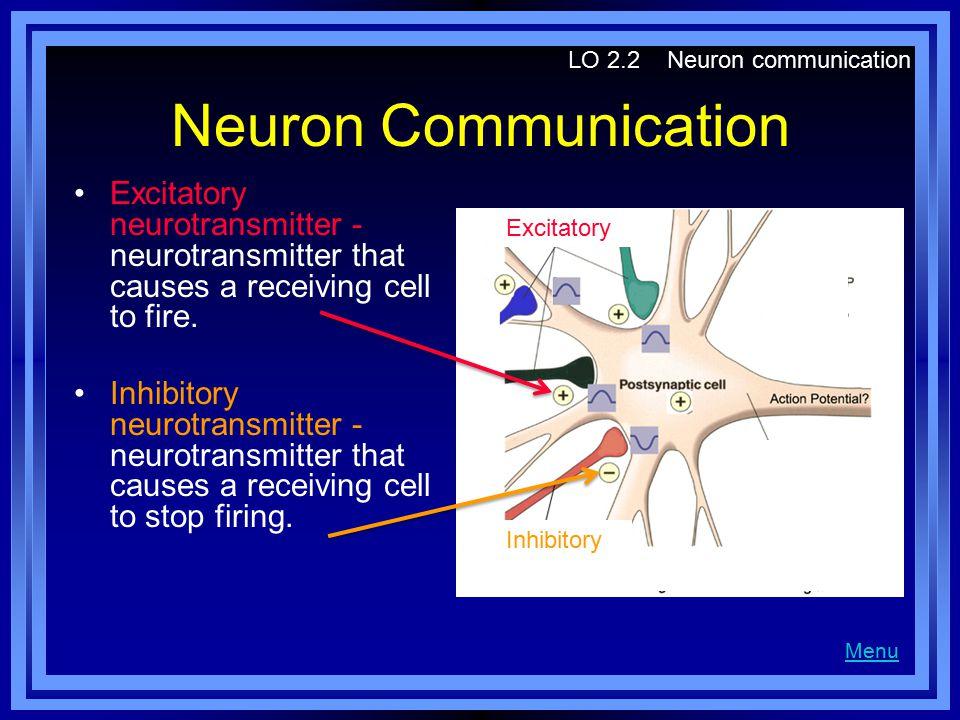 Neuron Communication Excitatory neurotransmitter - neurotransmitter that causes a receiving cell to fire.
