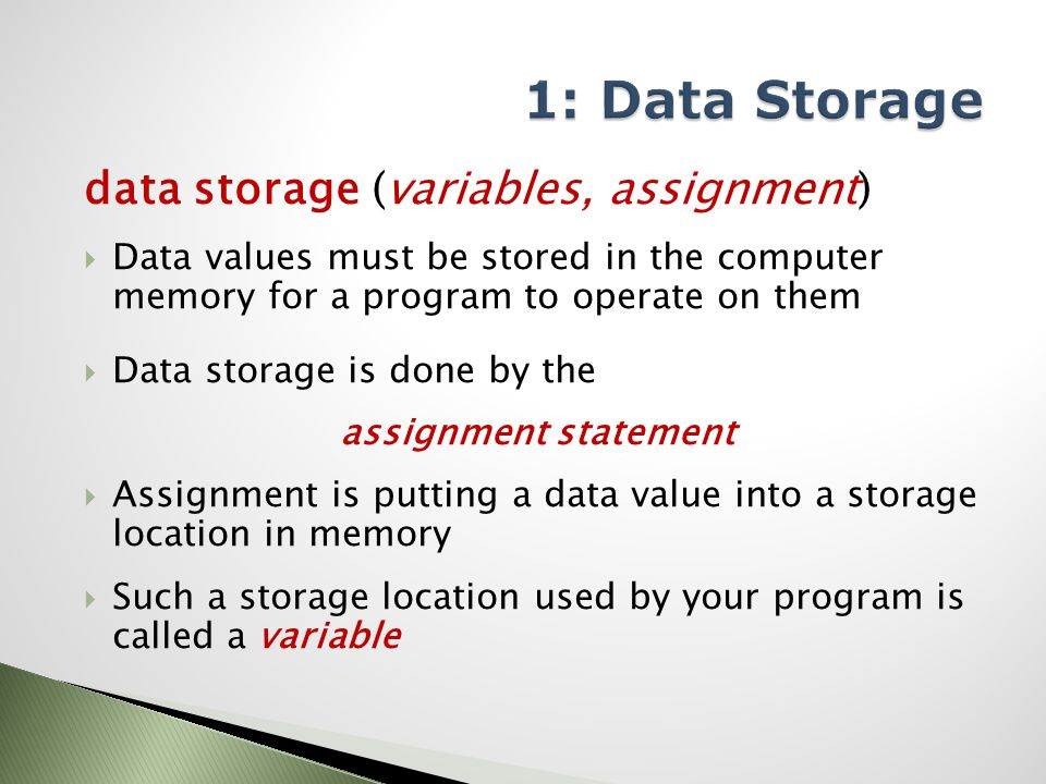 data storage (variables, assignment)  Data values must be stored in the computer memory for a program to operate on them  Data storage is done by the assignment statement  Assignment is putting a data value into a storage location in memory  Such a storage location used by your program is called a variable