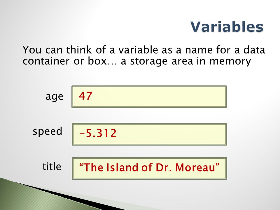 You can think of a variable as a name for a data container or box… a storage area in memory age speed title 47 -5.312 The Island of Dr.