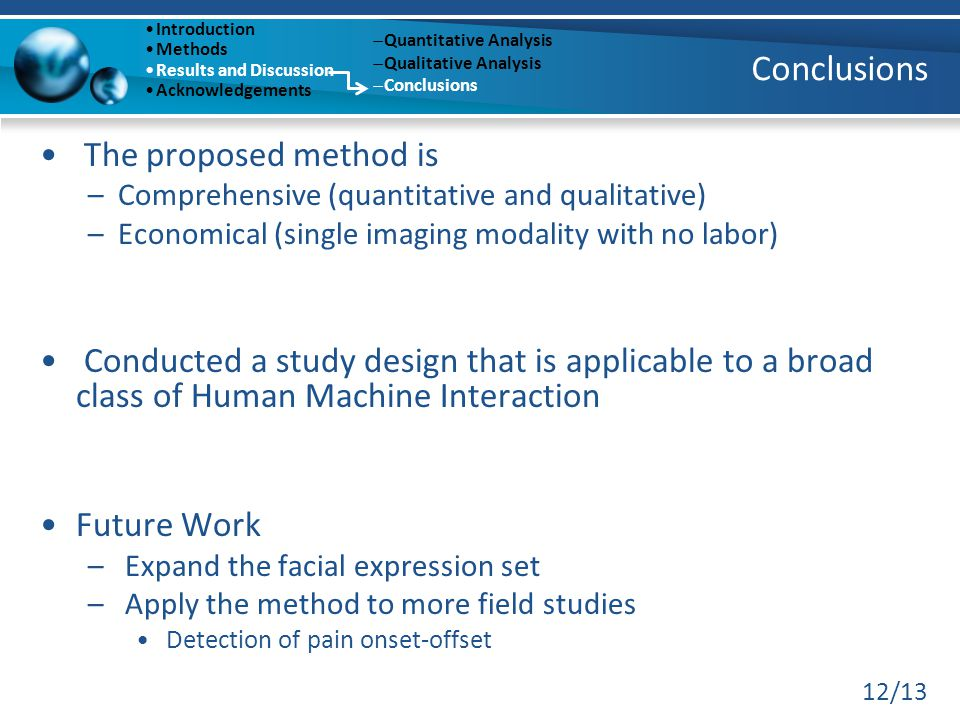 12/13 Conclusions The proposed method is –Comprehensive (quantitative and qualitative) –Economical (single imaging modality with no labor) Conducted a