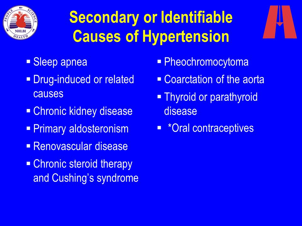 Secondary or Identifiable Causes of Hypertension  Pheochromocytoma  Coarctation of the aorta  Thyroid or parathyroid disease  *Oral contraceptives