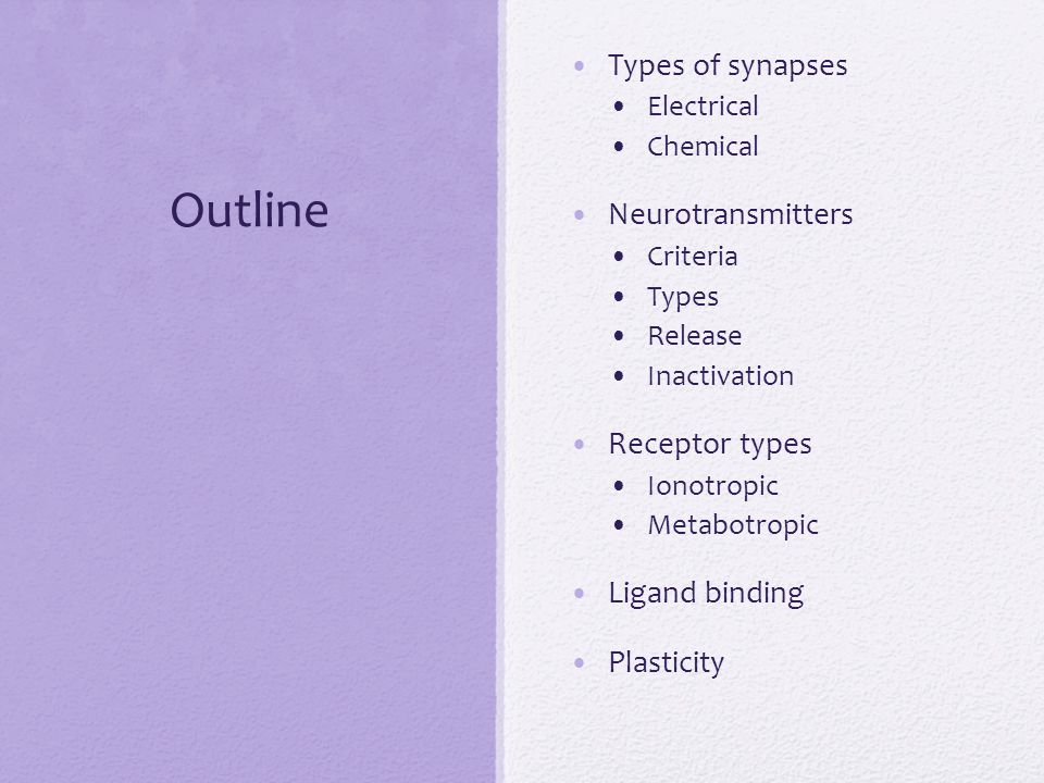 Outline Types of synapses Electrical Chemical Neurotransmitters Criteria Types Release Inactivation Receptor types Ionotropic Metabotropic Ligand bind