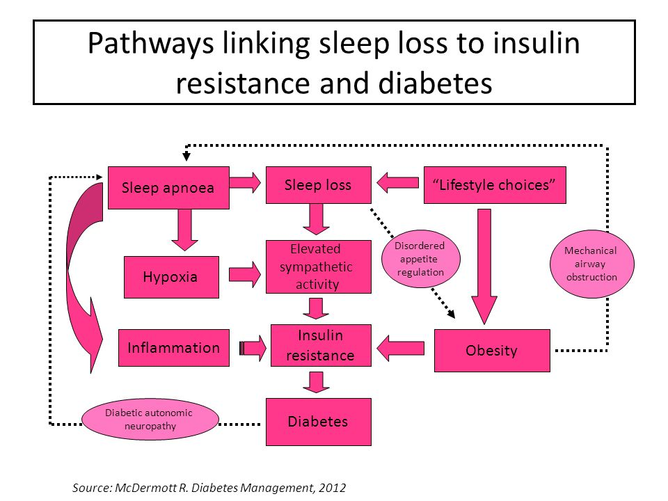 Pathways linking sleep loss to insulin resistance and diabetes Sleep apnoea Sleep loss Lifestyle choices Elevated sympathetic activity Insulin resistance Diabetes Hypoxia Inflammation Obesity Diabetic autonomic neuropathy Mechanical airway obstruction Disordered appetite regulation Source: McDermott R.