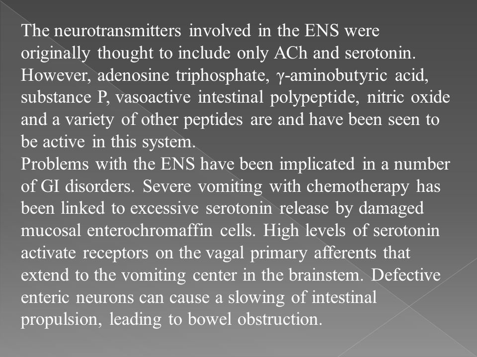 The neurotransmitters involved in the ENS were originally thought to include only ACh and serotonin. However, adenosine triphosphate, γ-aminobutyric a