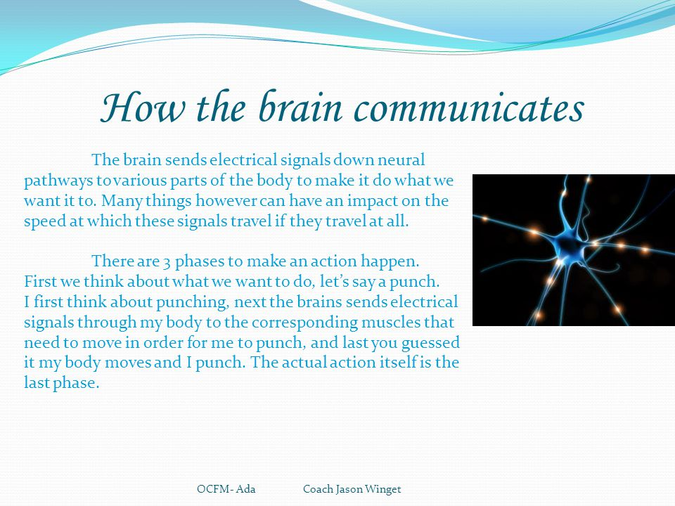 How the brain communicates OCFM- Ada Coach Jason Winget The brain sends electrical signals down neural pathways to various parts of the body to make i
