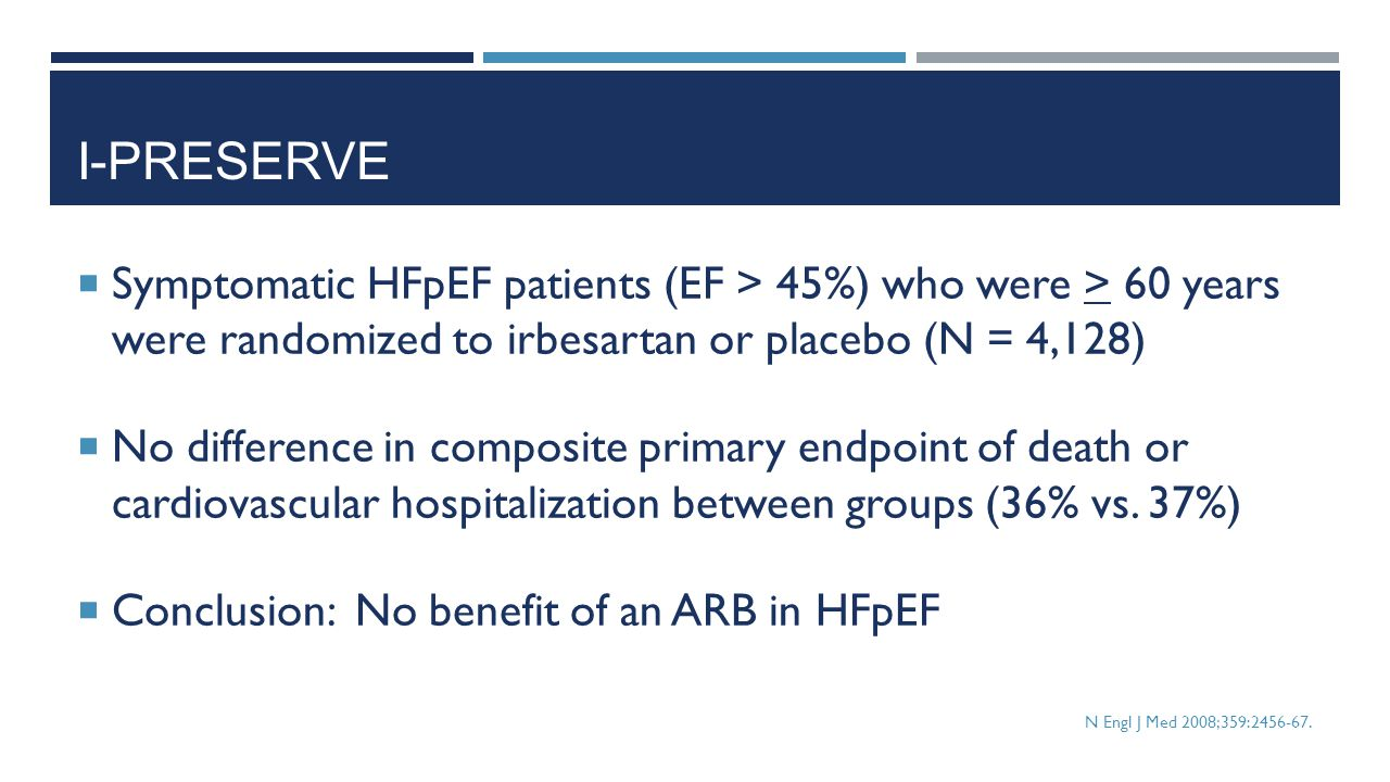 I-PRESERVE  Symptomatic HFpEF patients (EF > 45%) who were > 60 years were randomized to irbesartan or placebo (N = 4,128)  No difference in composi